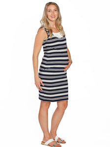 Basic Cotton Nursing Tank Dress in Grey & Navy Stripes