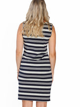 Basic Cotton Nursing Tank Dress in Grey & Navy Stripes back
