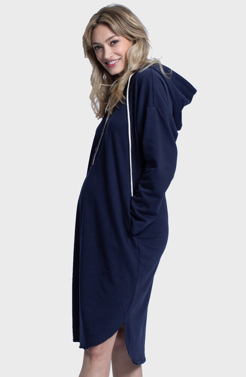 Maternity Oversize Hoodie Button Nursing Dress - Navy