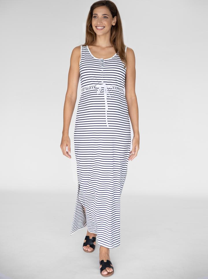 Maternity and Nursing Maxi Dress - White and Navy Stripes