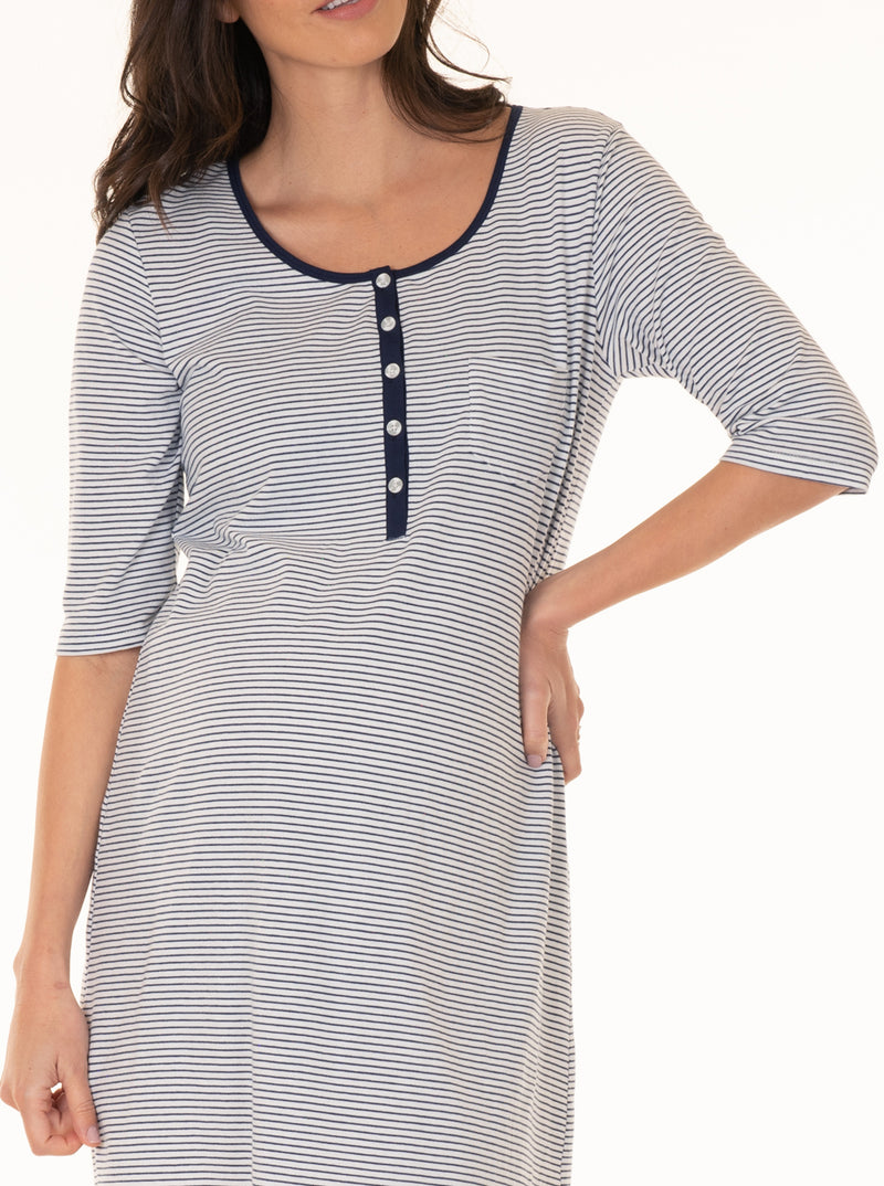 Button Front Nursing Sleep Dress - Navy Stripes