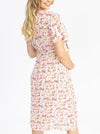 Maternity and Nursing Wrap Dress in Floral Pink