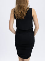 Bodycon Sleeveless Nursing Dress - Black