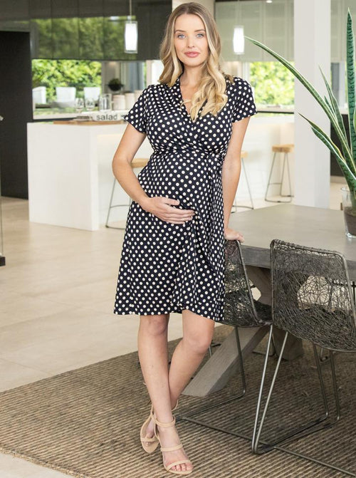 Maternity and Nursing Wrap Dress - Polka Dots front