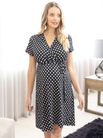 Maternity and Nursing Wrap Dress in Polka Dots