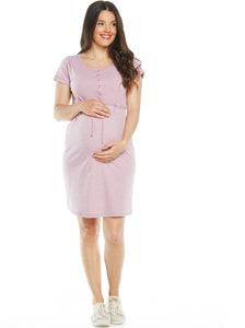 Maternity & Nursing Drawstring Dress - Stripes