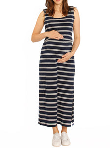 Busy Mama Nursing Maxi Dress in Navy Stripes