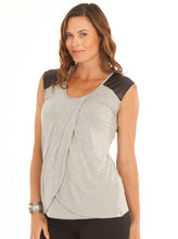 Petal Front Nursing Top with Leather Patch - Grey