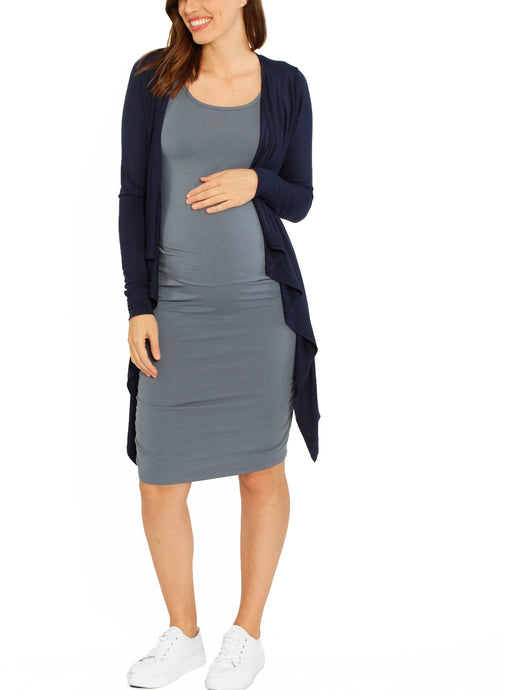 Maternity Waterfall Long Soft Cardigan - Navy