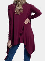 Maternity Waterfall Long Cardigan - Red Burgundy back