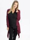 Maternity Waterfall Long Cardigan - Red Burgundy front 2