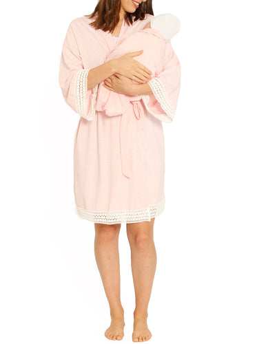 Mommy Sleep Robe + Dress + Baby Wrap Set  - Pink