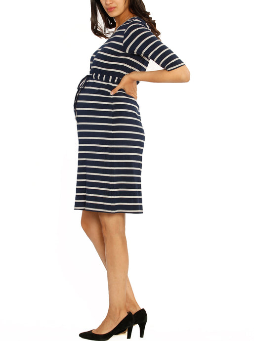 The Mommy Drawstring Half Sleeve Dress - Navy & White Stripes