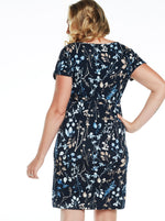 Maternity Drawstring Casual Dress - Navy Floral