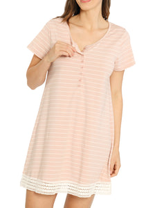 Ruby Joy Button Front Nursing Sleep Dress - Pink Stripes