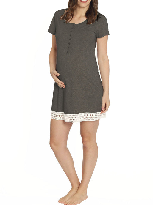 Ruby Joy Button Front Nursing Sleep Dress - Charcoal