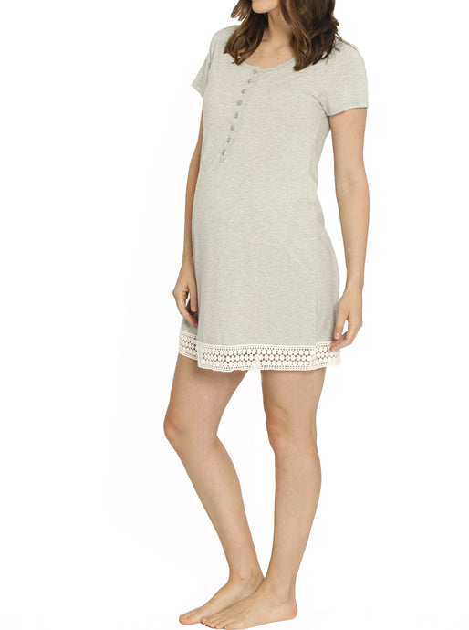 Ruby Joy Button Front Nursing Sleep Dress - Grey