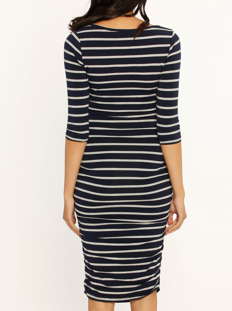 Body Hugging Maternity Dress - Black/ Navy Stripes