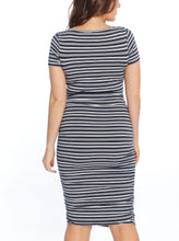 Body Hugging Short Sleeve Maternity Dress - Navy Stripes