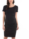 Body Hugging Short Sleeve Maternity Dress - Black Polkadots