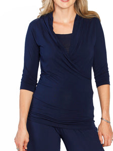 Maternity V-Neck Crossover Nursing Top - Navy