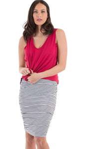 Maternity Ruched Summer Skirt - Stripes