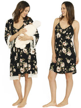 Nursing Dress + Robe + Free Baby Blanket Wrap - Floral Hospital Pack