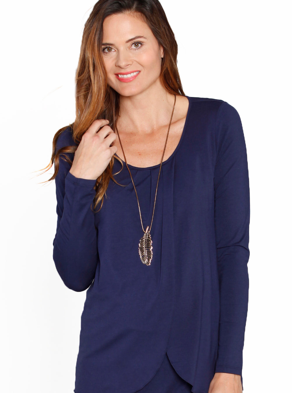 Maternity Petal Front Long Sleeve Nursing Top - Navy