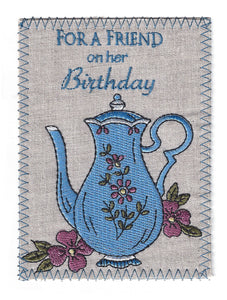 Blue Coffee Pot and Flowers - BD259P
