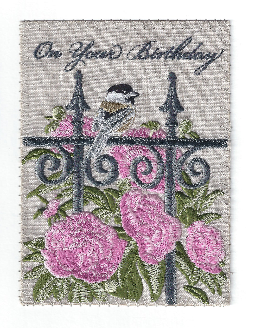 Pink Flowers and Sparrow - BD162P
