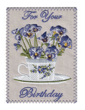 Purple Pansies in White Teacup - BD170P