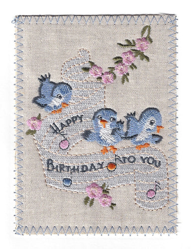 Little Blue Birds Singing Happy Birthday - BD176P