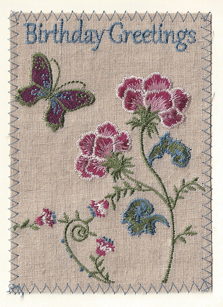 Birthday Butterly and flowers - BD183P