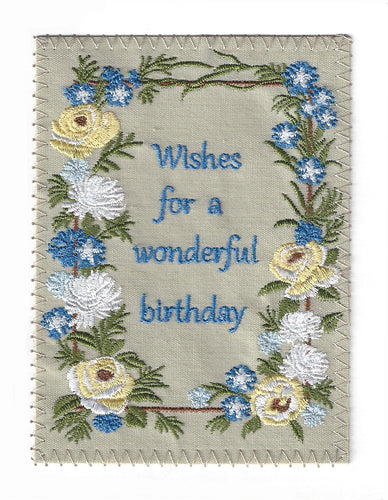 Yellow White and Blue Flowers Birthday Wishes - BD198P