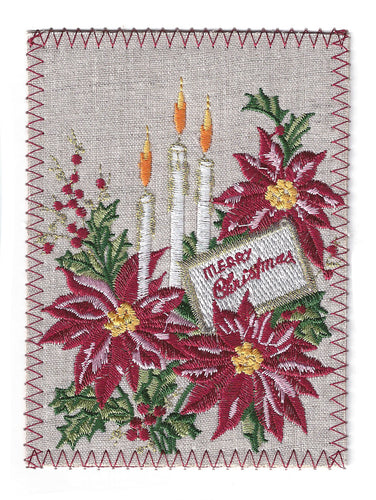 Merry Christmas Poinsettia With Candles - C261P