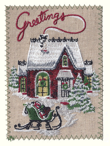 Christmas Greetings Red House With Slay - C182P