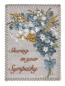 Flowers in Soft Colors of Gold Blue and White - S263P