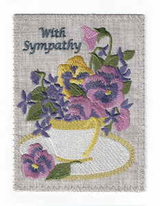Sweet Tea Cup Full of Pansies - S153P