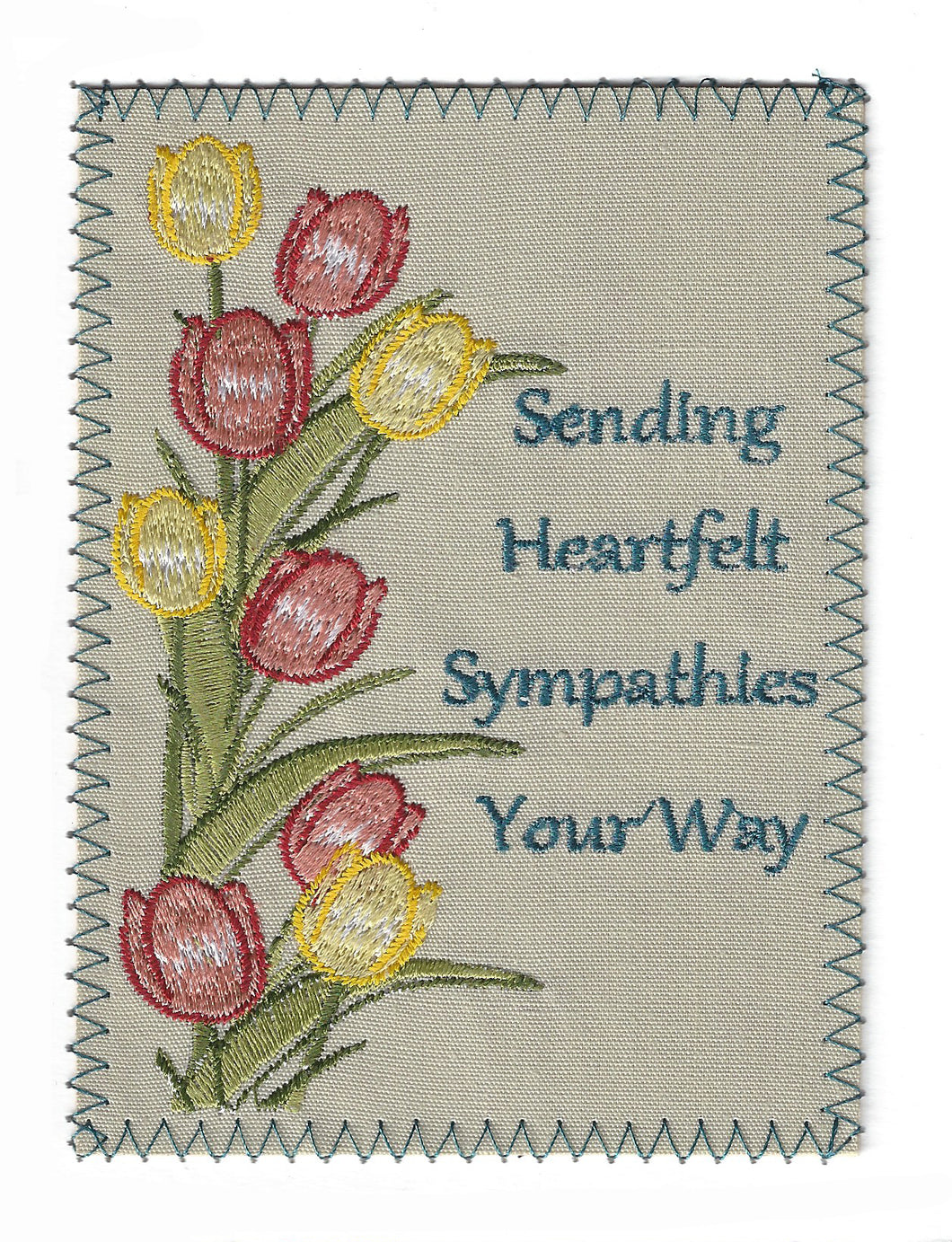 Embroidered Peach and Yellow Tulips - S195P