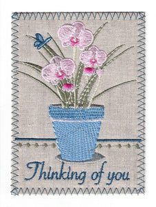 Thinking of You Blue pot of pinkFlowers -TOY268P