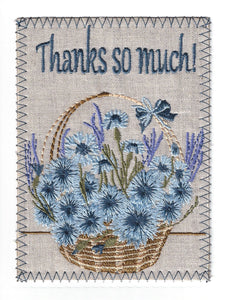 Wicker Basket Full of Beautiful Pale and Dark Blue Flowers - TY249P
