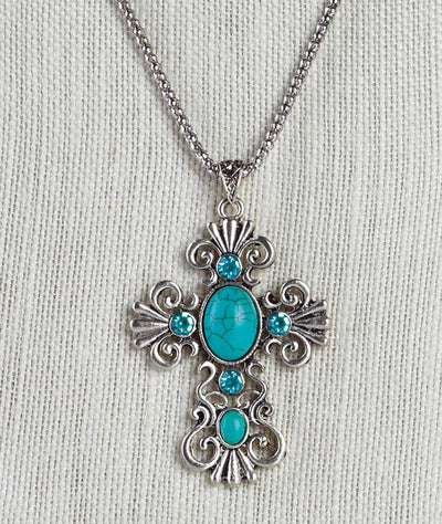 Turquoise Bead Cross Necklace - crazydecor