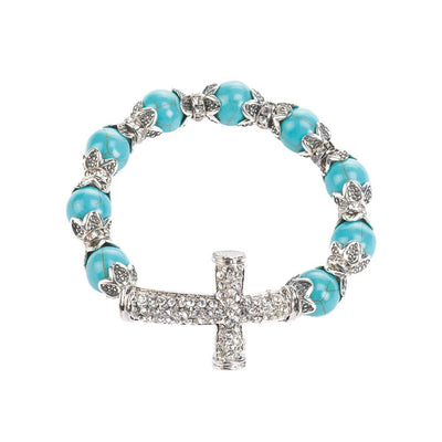 Cross Beaded Stretch Bracelet - crazydecor