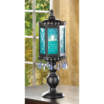 Exotic Azure Blue Pedestal Lantern - crazydecor