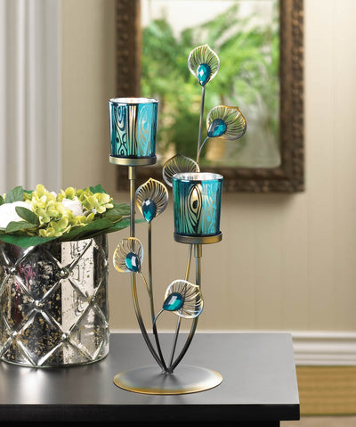 Peacock Plume Candle Holder - crazydecor
