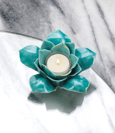 Blue Lotus Tealight Candle Holder - crazydecor