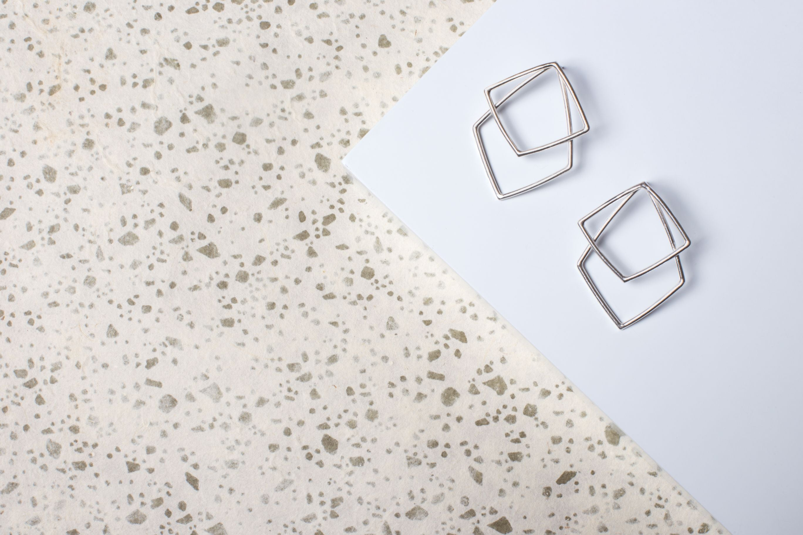 Silver Large Geometric Statement Stud Earrings