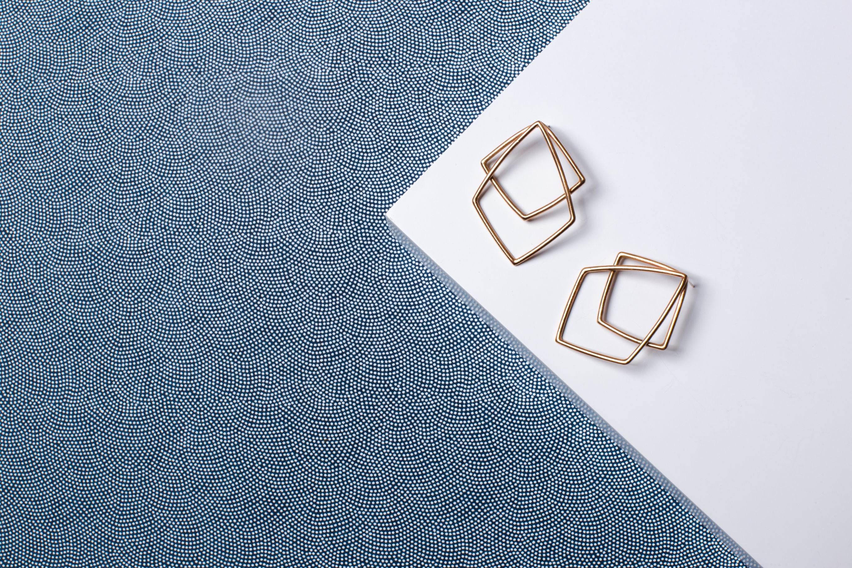 Brass Large Geometric Statement Stud Earrings
