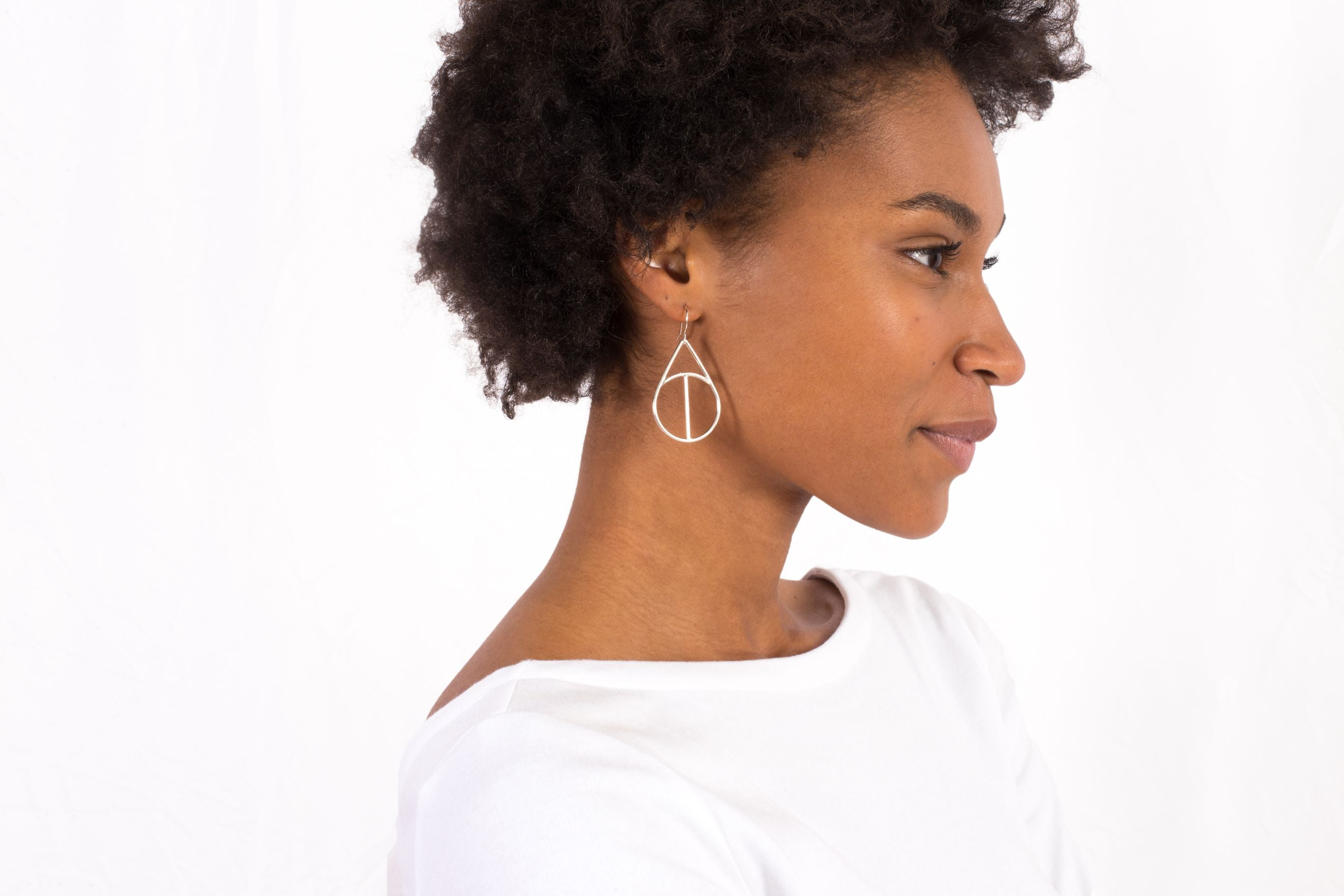 Silver Geometric Large Teardrop Dangle Earrings