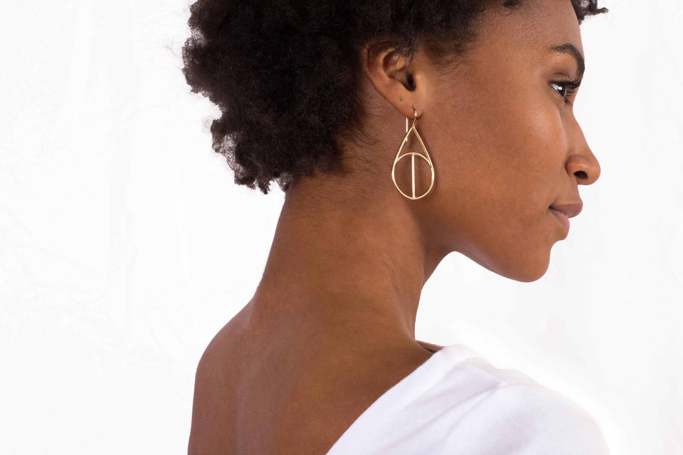 Brass Geometric Large Teardrop Dangle Earrings
